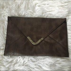 Brown Envelope Clutch/ Purse