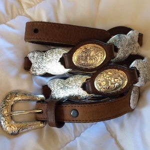Distressed leather western belt