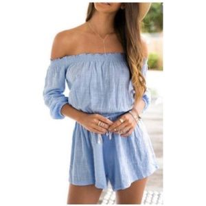 Pants - Off shoulder denim-colored romper/playsuit