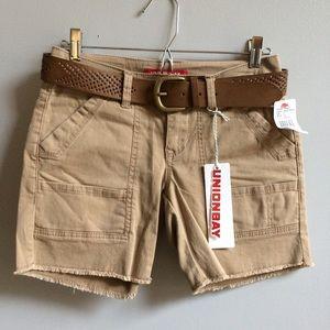 UNIONBAY Pants - NWT Tan Khaki Belted Shorts