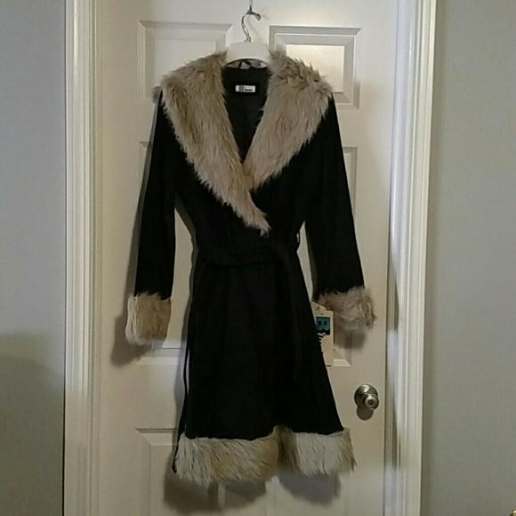 d989c5c8683d Jackets & Coats | Nwt Womens Long Black Suede Coat Wfaux Fur Trim ...