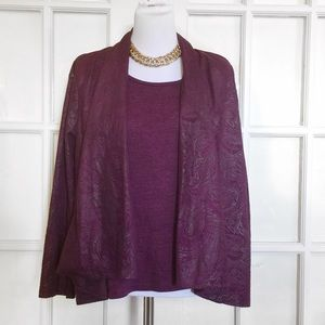 Sag Harbor Sweaters - HP!!🎉Sag Harbor Plum All-in-One Swing Cardigan