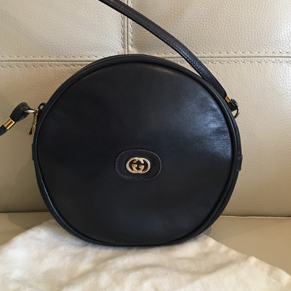 gucci bags vintage. vintage gucci navy round shoulder bag bags