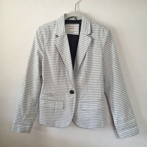 Gray and White Striped Blazer