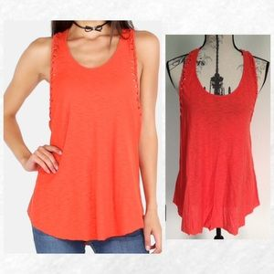 Tops - Last 1! Bright Red Braided Tank Top