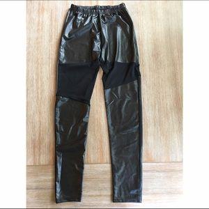 Pants - Wet Look Mesh Insert Leggings XS