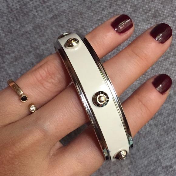 Henri Bendel Jewelry Sale Enamel Silver Bangle Bracelet Poshmark