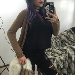 Zara Basics Camel Knit Cardigan