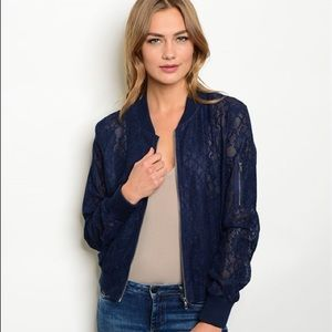 Jackets & Blazers - sale! Navy lace light weight jacket