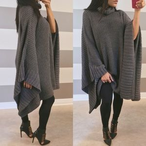 Sweaters - •NEW• Charcoal oversized cascading poncho