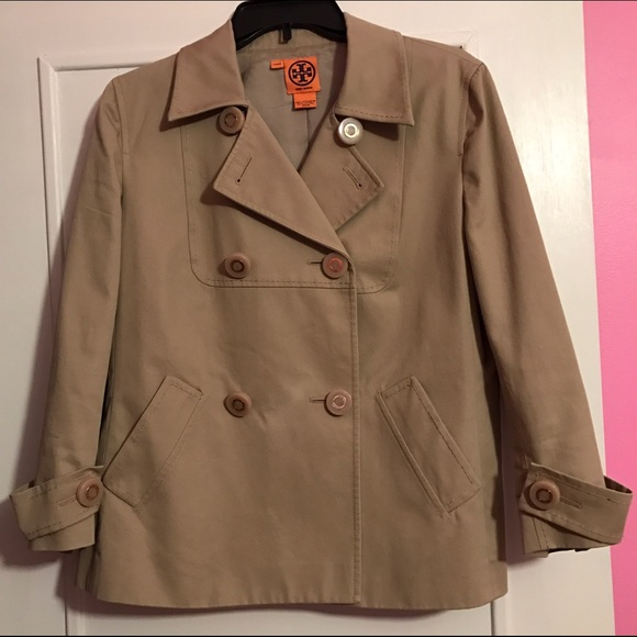 02be60f6d Tory Burch Blarr Cropped Trench Coat sand dollar. M 580523234e95a37ad7003dd0