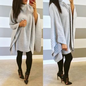 Sweaters - •SOLD• Silver gray oversized cascading poncho