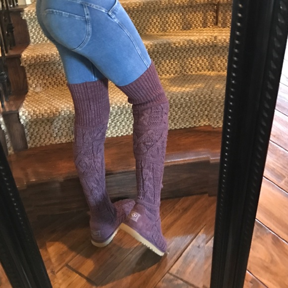 43 ugg shoes ugg thigh high knit plum sweater boots