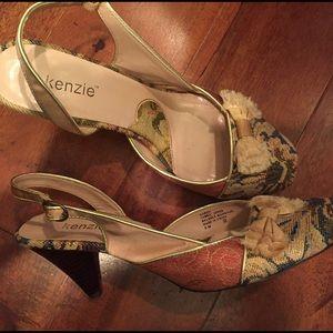 Kenzie vintage tapestry sling back heels