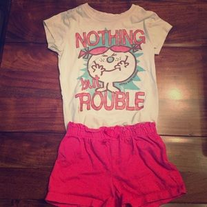 Other - Girls Trouble TShirt and Pink Comfy Shorts Outfit.