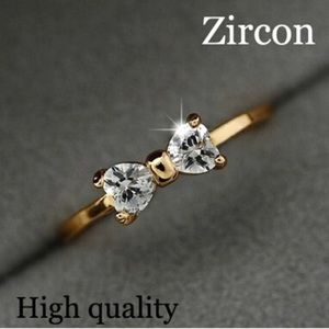 Jewelry - 10k Gold Plated CZ Diamond Bow Ring