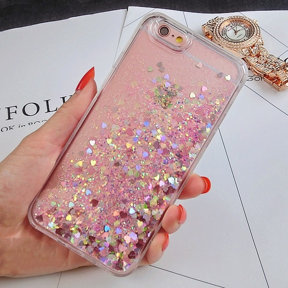 cheap for discount 00a91 54cc3 iPhone 7 Plus Case Waterfall Glitter Hearts Pink
