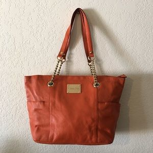 Calvin Klein CK Zip Tote Leather Orange