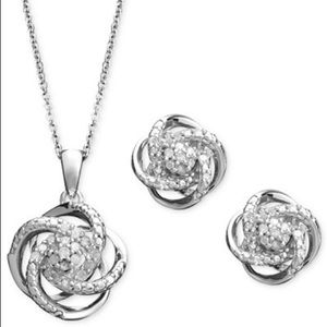 Zales Jewelry - Sterling silver and Diamond necklace & earrings