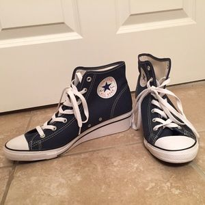 Converse Shoes - Navy Wedge Converse Sneakers