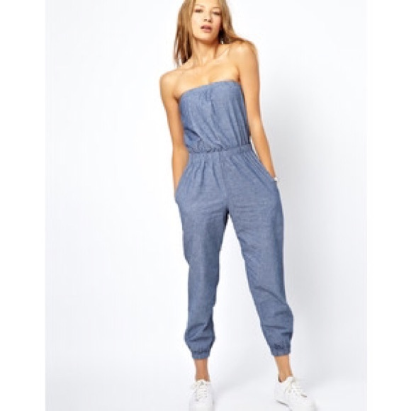42% off American Apparel Pants - Strapless Denim Jumpsuit from ...
