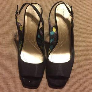 Tahari Black Open-Toe Heels