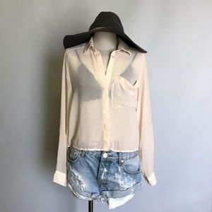 H&M Chiffon crop button down shirts