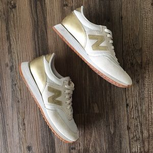 Gold J. Crew New Balance sneakers
