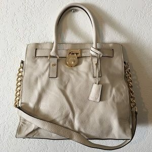Auth Michael Kors MK Leather White Hamilton Bag
