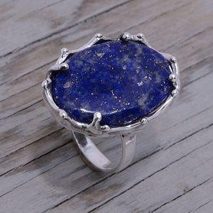 Large 950 Sterling & Lapis Lazuli Ring