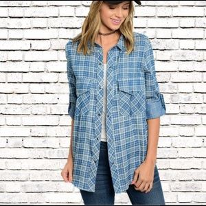 Leather and Sequins Tops - Blue Check Chambray Denim Button Down