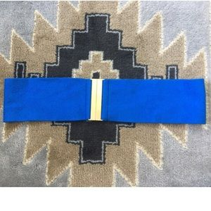 Accessories - Blue Knit Belt with Gold Buckle
