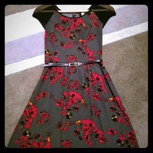 Poppy Print Kensie Dress with Sheer Cap Sleeves