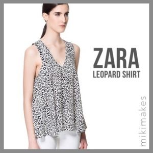 ZARA • crepe printed black dot swing tank