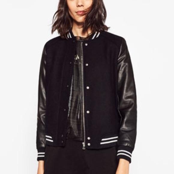 9674e94e3 Zara TRF Contrast Varsity Jacket Boutique