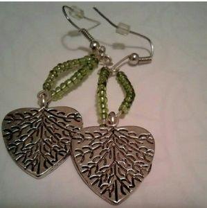 Light green leaf dangling earrings...