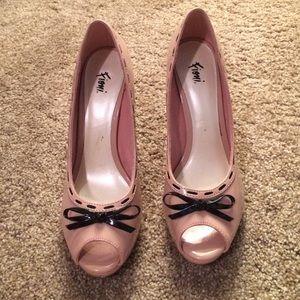 Blush Pink /black bow heels