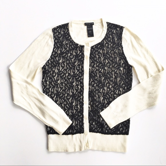 83% off Ann Taylor Sweaters - Ann Taylor lace overlay cardigan ...