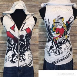 Ed Hardy Jackets & Blazers - ED HARDY Sleeveless Hoodie Sweater Vest