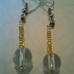 Yellow and clear dangling earrings....