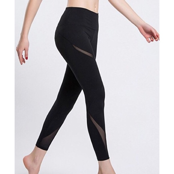 8fb6bc8885319 Pants | Yoga Skinny Leggings With Mesh Inserts In Black | Poshmark