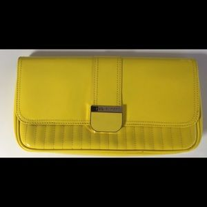 Ted Baker Benet Patent Clutch Bag Yellow