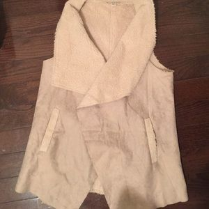 Tan shearling and suede vest