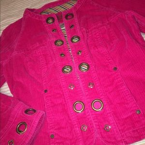 Pink corduroy crop jacket! Unique grommet detail!