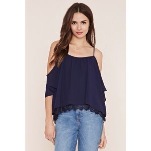 NEW Cold Off Shoulder Lace Paneled Hem Top