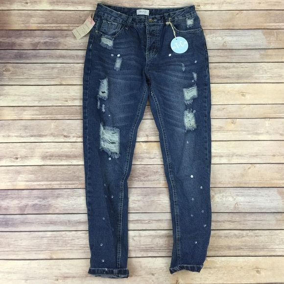 67% off Tea n Cup Denim - Tea & Cup dark Wash Distressed Boyfriend ...