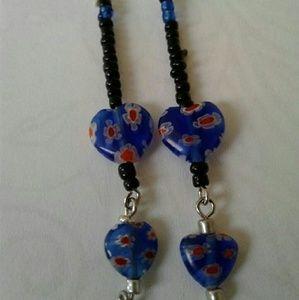 Blue, black, red heart dangling earrings...