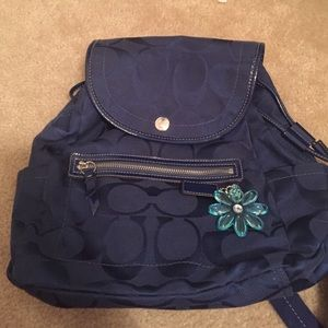 Navy blue coach backpack