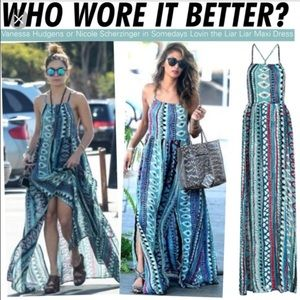 Somedays lovin liar liar printed maxi slit dress