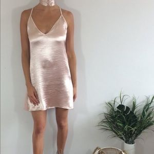 4fba84827572 Dresses | Rose Gold Satin Silk Choker Slip On Dress | Poshmark